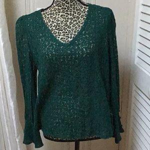 V neck green lace blouse